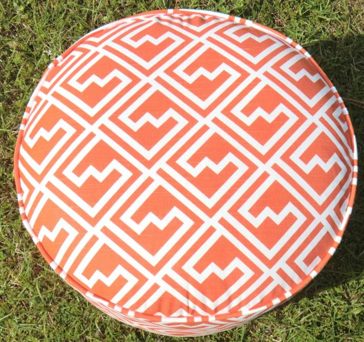 Orange fretwork pouf in 18 diameter