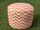 Orange chevron pouf in 18 diameter