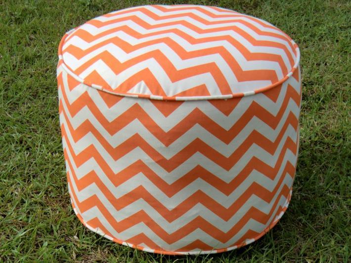 Orange chevron pouf in 18 diameter