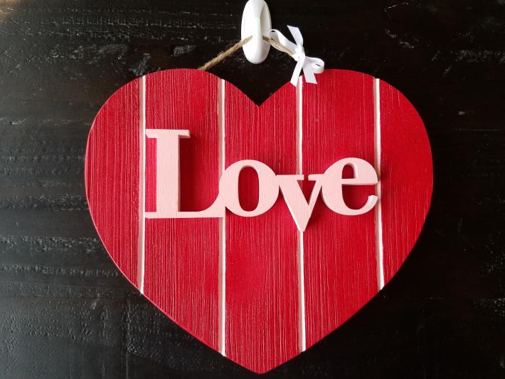 Love Wooden Heart Sign Red