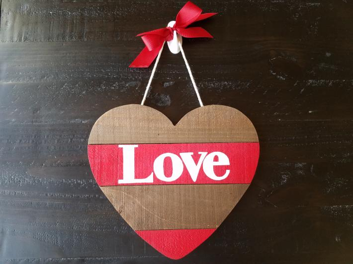 Love Wooden Heart Sign Striped