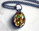 Sterling Silver Yellow Pendant Necklace Golden Vintage Swarovski Oval Gem Necklace Light Topaz Gunmetal Black Metal Faceted Bezel Set Sundrop