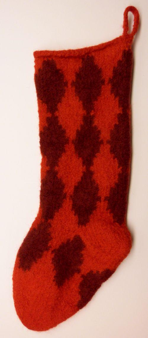 Felted Knitted Harlequin Stocking