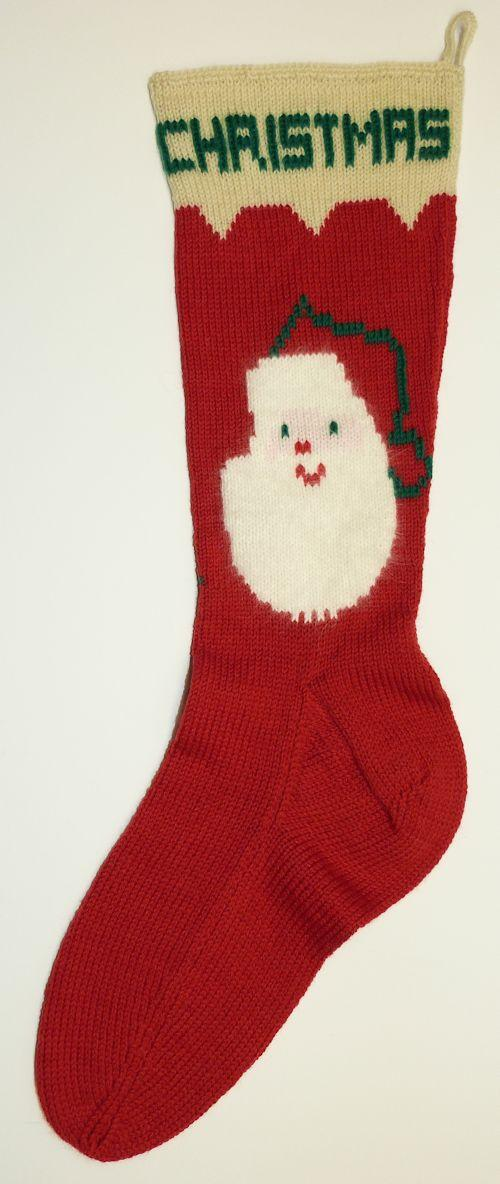 Knitted Christmas Stocking with Santa Face and Tree