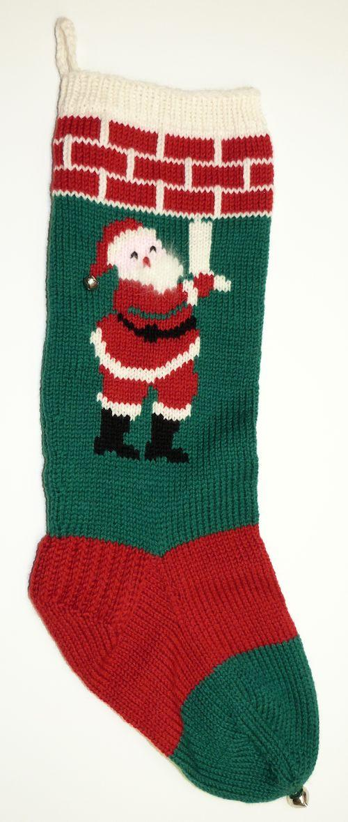 Knitted Christmas Stocking with Santa at the Mantel