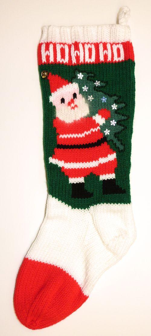 Knitted Christmas Stocking with Santa Carrying Tree