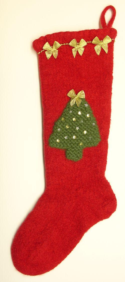 Felted Knitted Christmas Stocking with Decorations