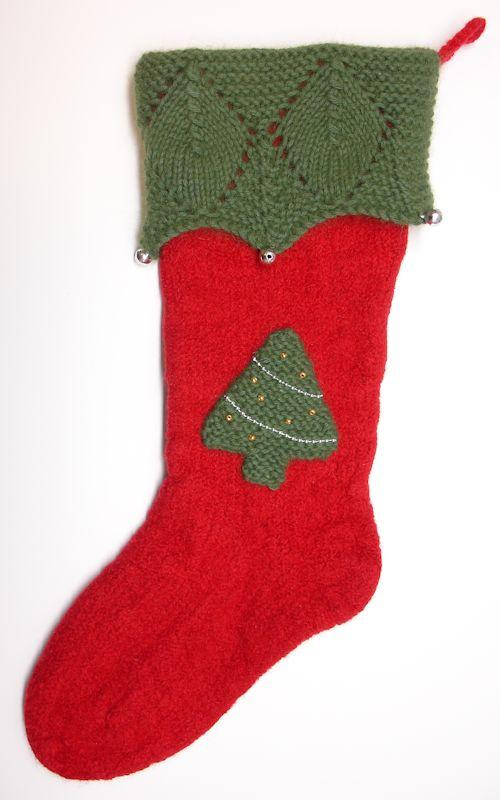 Felted Knitted Christmas Stocking with Lace Cuff
