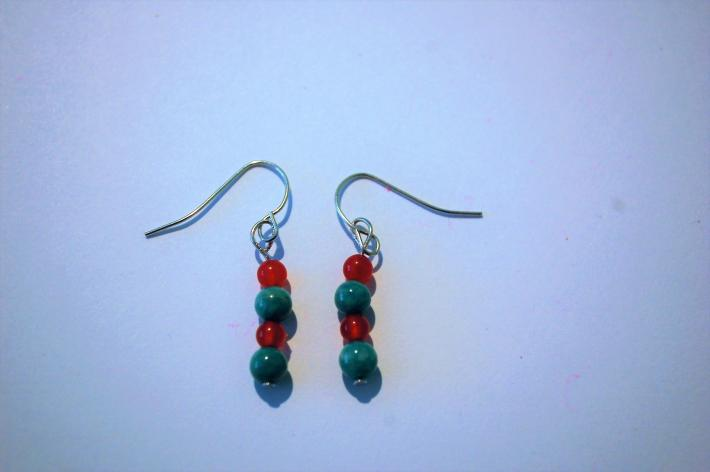 Red and Turquoise Earrings