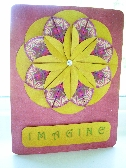 Greeting Card Imagine with Pink and Yellow Teabag Folded Dahlia 11PI106