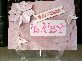 New Baby Card Pink and White  12P021