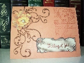Thinking of You Card  Peach with Brown Swirls  12P030