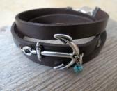 Mens Black Leather Bracelet With Silver Plated Anchor