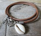 Mens Brown Leather Bracelet With Shell Pendant