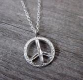 Mens Necklace With Sterling Silver Peace Pendant