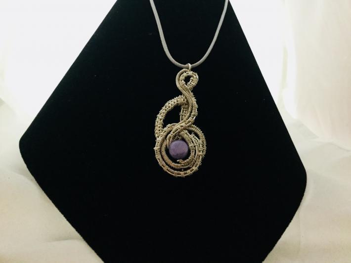 Amethyst wire weave pendant