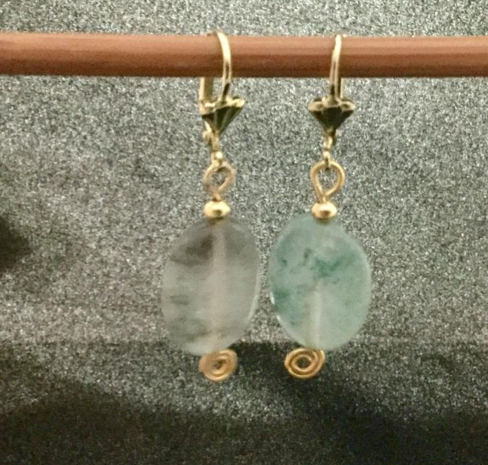 Pale green natural stone earrings