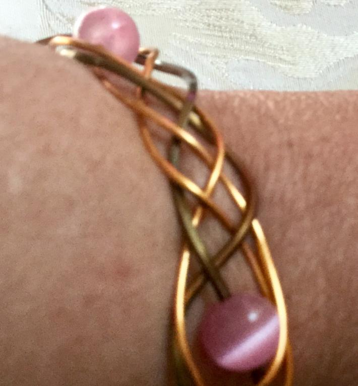 wire wrapped bracelet with pink beads