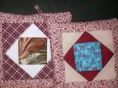 POT HOLDERS Patchwork Quilt Design Square in Square RedsTraditional Folk Art Americana GA  Made
