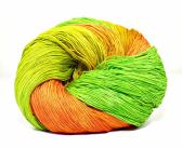 300 Yards Hand Dyed 3 Ply Size 10 Crochet Thread in Orange Yellow Spring Green Chartreuse and Melon Hand Painted Cotton Fine Yarn