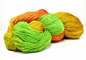150 Yards Hand Dyed 3 Ply Size 10 Crochet Thread in Orange Yellow Spring Green Chartreuse and Melon Hand Painted Cotton Fine Yarn