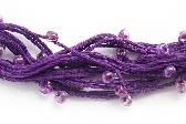 Multi Strand Necklace Purple Fine Embroidery Cotton Fire Polished Beads Birdsnest Fiber Eco Friendly Fashion Jewelry