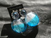 Fashion Crystal and Glass Blue and White Handmade Earrings