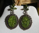 Seed Bead Filled Copper Tone Cameo on Olive Green Crystal Element Handmade Dangle Earrings