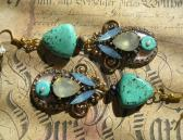 Long Statement Summer Boho Handmade Earrings in Turquoise and Antique Gold with Crystal Elements