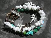 Mixed Gemstones Beaded Handmade Multi Strand Bracelet with Jade Agate Turquoise and Copper Tone Metal