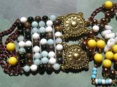 Tribal Handmade Necklace Beaded Tie in Brown Blue White Antique Gold Yellow Copper