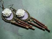 Long Dangle Handmade Earrings in Brown Lilac and Focal White Resin Flowers