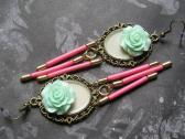 Long Dangle Handmade Earrings in Beige Pink and Focal Mint Resin Flowers