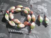 Salmon Pink and Spring Green Handmade Beaded Necklace and Earrings Jewelry Set