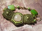 Tribal Handmade Antique Gold Green and Pink Focal Chunky Bracelet