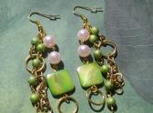Green Gold and Light Pink Handmade Multi Strand Dangle Earrings
