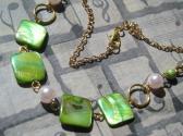 Short Dainty Handmade Green Gold Pink Shell Necklace