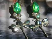 Large Dangle Iridescent Green Butterfly Recycled Earrings