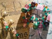 Handmade New and Recycled Beads Teal and Purple Necklace and Earrings Matching Jewelry Set