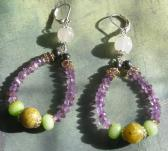 Large Hoop Handmade Gemstone Amethyst Purple Earrings