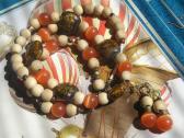 Handmade Blond Wood and Brown Orange Glass Necklace Bracelet Earrings Jewelry Set