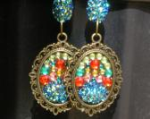 Long Sparkly Blue Green Red Handmade Mosaic Earrings