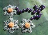 Painted Large Metal Filigree Flowers and Faux Pearl Purple White Peach OOAK Bib Necklace