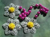 Painted Large Metal Filigree Flowers and Faux Pearl Hot Pink White Yellow OOAK Bib Necklace