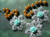Painted Large Metal Filigree Flowers and Faux Pearl Apricot Orange White Light Blue OOAK Bib Necklace