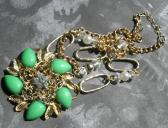 Handmade Fashion Spring Green Gold Flower Focal Chain Necklace