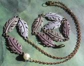 Painted Metal and Chain Purple Leaf Necklace and Bracelet Handmade Jewelry Set