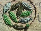 Painted Metal and Chain Green Leaf Necklace and Bracelet Handmade Jewelry Set