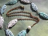 Painted Metal and Chain Blue Leaf Necklace and Bracelet Handmade Jewelry Set