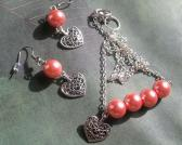 Girls Handmade Peach Faux Pearl and Silver Heart Charm Necklace and Earrings Jewelry Set